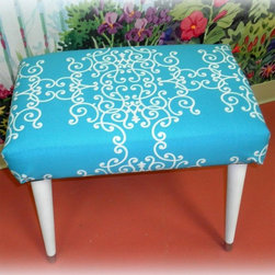 Upcycled Furniture Mid Century Modern Foot Stool - This vintage mid century mod foot stool got a new lease on life with new paint and a fabulous aqua blue fabric. This ottoman would look awesome in a beach cottage or any aqua inspired room.