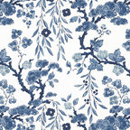 Tabley House Floral Porcelain Wallpaper - This gorgeous wallcovering's blue and white pattern looks like it was inspired by an Asian vase. I'm picturing it in all sorts of rooms, from powder rooms to entryways, kitchens to the master bedroom. Where would you put it?