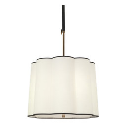Robert Abbey - Axis Pendant - This drum pendant can't be beat. It looks perfectly at home in either your modern or traditional setting, with a curvy fabric shade finished in contrasting trim.