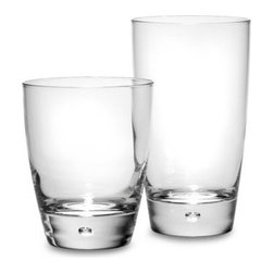 """Bormioli - Bormioli Rocco Luna 16-Piece Drinkware Set - This contemporary set creates a tranquil atmosphere with a """"bubble"""" floating at the bottom of the glass. Glassware is dishwasher safe."""