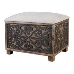 """Uttermost - Abelardo Cushioned Small Bench - Cushioned Bench Has Neutral Linen Seat On Lightly Stained Fir Wood With Rustic, Black Gate Panel Sides. Dimensions: 24.2""""W X 16.3""""D X 22.25""""H; Finish: Cushioned Bench Has Neutral Linen Seat on Lightly Stained Fir Wood with Rustic Black Gate Panel Sides; Weight: 61 lbs;"""