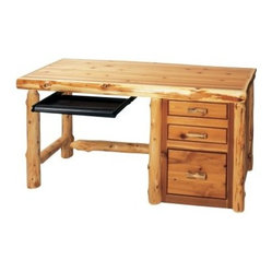 Fireside Lodge Cedar Log Style File Desk with Optional Keyboard Slide