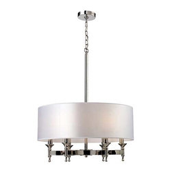 Pembroke Drum Chandelier - Unique in form, the Pembroke Lighting collection features a concave arm design for a distinct appearance. Light silver drum shades and a polished nickel finish add to the contemporary look of this collection fro Elk Lighting.
