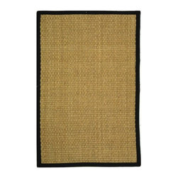 Safavieh - Natural Fiber Hand Woven Rug (4 ft. x 2 ft. 6 in.) - Size: 4 ft. x 2 ft. 6 in. Traditional style. Power loomed. Soft and durable. Made from sisal and natural sea grass. Natural and black color. This densely woven rug will add a warm accent and feel to any home. The 100-percent cotton canvas backing adds durability. Care Instructions: Vacuum regularly. Brushless attachment is recommended. Avoid direct and continuous exposure to sunlight. Do not pull loose ends; clip them with scissors to remove. Remove spills immediately; blot with clean cloth by pressing firmly around the spill to absorb as much as possible. For hard-to-remove stains professional rug cleaning is recommended.