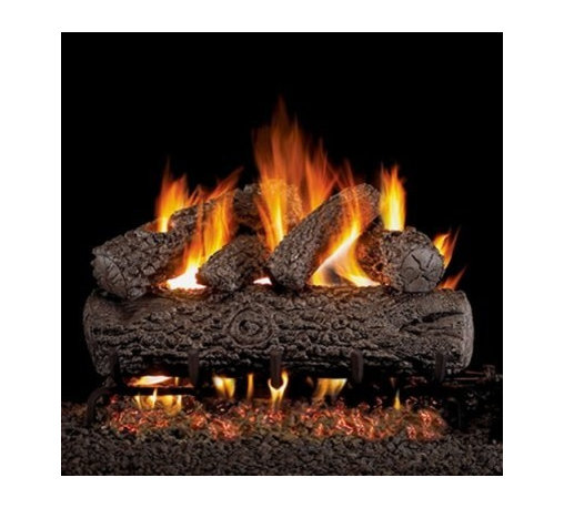 Real Fyre Post Oak Vented Gas Log Set - A realistic, beautiful, classic fireplace insert, the Real Fyre Post Oak Vented Gas Log Set is the perfect way to complete your hearth. This hand-painted refractory ceramic log set is modeled from real wood samples, with realism, texture, and nuance straight from nature. They burn efficiently while protecting natural resources and reducing pollution, providing real radiant heat for your home. Each is supported by steel rods in the center, and artfully placed about a steel burner and powder-coated grate. Choose 18 or 24 inches to fit your standard direct vent fireplace Choose propane or natural gas power source Silica sand and platinum embers included with every model Optional pilot kit and remote control Manufacturer's lifetime warranty included Heating Output Propane 18-inch: 45,000 BTU Propane 24-inch: 65,000 BTU Natural gas 18-inch: 70,000 BTU Natural gas 24-inch: 90,000 BTU Note: It is recommended that you use a professional installer to ensure the safety of the exhaust system. A licensed contractor should be contacted for installation of all products involving gas lines. About Real FyreReal Fyre understands more about the amazing things that happen when flame and good food meet. For the last 70 years, they've set out to create the singularly best way to cook food outdoors, using the highest-quality materials, innovative design, and an absolutely relentless pursuit of perfection. With a complete line of luxury-grade grills, burners, accessories, and built-in grill island components, Real Fyre is ready to turn your home into the world's best outdoor kitchen.
