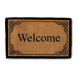 """Frontgate - Bellair Personalized Entry Mat - Frontgate - Hand-woven to a 1-1/2"""" density. Tough bristles stand up to the outdoor elements. Stenciled pattern resists fading. Frontgate exclusive. Select your single letter monogram; monogram measures 8-1/2""""H on 30"""" x 48"""" mat and 11-3/4""""H on 36"""" x 72"""" mat. The extra-thick coir fibers of our Bellair Monogrammed Entry Mat scrub dirt and absorb moisture, while your hand-stenciled monogram makes a personal greeting. . . . . . View complete care instructions . Please note, personalized items are nonreturnable."""