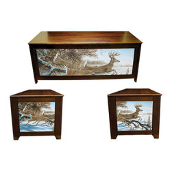 Kelseys Collection - Blanket chest - Breaking Cover - Lodgebox-pine blanket chest or hope chest has great art giclee canvas printed on three sides. Also functions as a bench. High quality craftsmanship and famous artwork make unique home decor furniture. Lid is strengthened with 3 strakes.  Measures 48x19x20.  The lid is connected with 3 L shaped hinges which are connected with five screws.  Easy to assemble in 45 minutes, weighs 40 pounds. Two piston dampers soften the lid closing to protect fingers.  Artist - Rosemary Millette