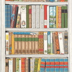 Bibliotheque Wallpaper - Who doesn't adore the look of floor-to-ceiling built-ins packed with gorgeous books? For those of us without, we can fake it until we make it with this colorful faux-library print.
