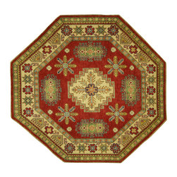 Manhattan Rugs - New Oriental Octagon Mojave Collection Kazak Hand Knotted Wool Rug H6228 - Kazak (Kazakh, Kasak, Gazakh, Qazax). The most used spelling today is Qazax but rug people use Kazak so I generally do as well.The areas known as Kazakstan, Chechenya and Shirvan respectively are situated north of  Iran and Afghanistan and to the east of the Caspian sea and are all new Soviet republics.   These rugs are woven by settled Armenians as well as nomadic Kurds, Georgians, Azerbaijanis and Lurs.  Many of the people of Turkoman origin fled to Pakistan when the Russians invaded Afghanistan and most of the rugs are woven close to Peshawar on the Afghan-Pakistan border.There are many design influences and consequently a large variety of motifs of various medallions, diamonds, latch-hooked zig-zags and other geometric shapes.  However, it is the wonderful colours used with rich reds, blues, yellows and greens which make them stand out from other rugs.  The ability of the Caucasian weaver to use dramatic colours and patterns is unequalled in the rug weaving world.  Very hard-wearing rugs as well as being very collectable