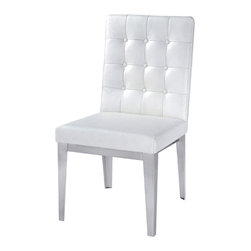 Nuevo Living - Herness Dining Chair - White Leather - Modern Furniture by Nuevo - HGTA308 - Bring modern sophistication to your dining space with this modern Herness High Back Chair in white leather finish. Both comfortable and luxuriously modern, this piece features a snazzy seat that is made of wood and steel sub frame. Its comfortable padded seat is made of top grain Italian leather with brushed stainless steel legs. Perfect for intimate gatherings or wild evenings, this furniture piece is sure to delight and amaze. The Herness Chair is available in your choice of black, white and brown colored leather.