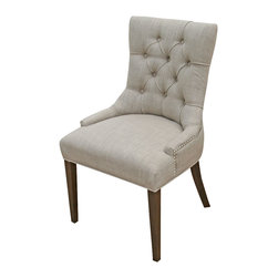 ARTeFAC - 2 - Accent Tufted Fabric Chairs in Neutral Linen with Silver Nail Head, Sand - 2 - Accent Tufted Fabric Chairs in Sand with Silver Nail Head