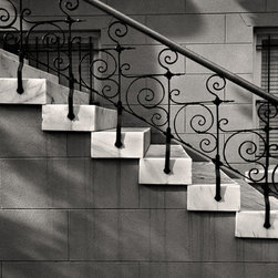 The Andy Moine Company LLC - Decorative Iron & Marble Steps Savannah GA Fine Art Black and White Photography, - Black and White Fine Art Photography captured with 35MM Ilford Film and reproduced in Limited Editions on Canvas OR Brushed Aluminum. This is a beautiful composition of a Decorative Iron and Marble staircase in beautiful Historic Savannah, Georgia
