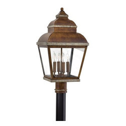 """The Great Outdoors - The Great Outdoors GO 8265 23.5"""" Outdoor 4 Light Post Mount Fixture from the Mos - Traditional / Classic 23.5"""" Outdoor 4 Light Post Mount Fixture from the Mossoro CollectionThis beautiful 4 light post mount fixture features a traditional / classic design from the Mossoro collection.  This fixture requires four 60 watt candelabra base bulbs and would be a perfect complement to any private or professional landscape.The Mossoro collection by The Great Outdoors will add a beautiful touch to any outdoor space. This collection has a warm and familiar look that features the Mossoro walnut with silver highlights finish. This eight piece collection offers strength and durability while maintaining a soft side designed to fit any home.Features:"""