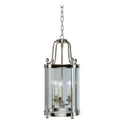 Robert Abbey - Blake Pendant - Simply sophisticated! This pendant fixture features five candelabra arms encased within four glass panels to cast delicate light into your favorite setting. Available in a variety of finishes, it's an illuminating addition wherever you hang it.