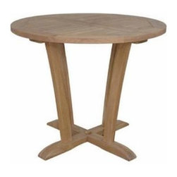 """Anderson Teak - Descanso Bistro Table - Descanso Bistro Round Table is perfect restaurant, cafe or place where space is limited. This charming table can fit for 2-4 people for having a morning coffee, chat or as a functional table for gathering with friends and family. The table can be used with any mix and match chairs. Made from premium teak with 2-1/4"""" umbrella holes. Your patio collection will not be complete without it. Impress your family and friends with this gorgeous bistro table."""