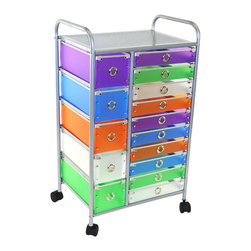 "4D Concepts - 4D Concepts 363023 15-Drawer Rolling Storage in Multi Color Drawers - Want the perfect storage unit? This 15 drawer rolling cart can add that needed storage to any room in the home. The 5 small (Inside dim 5 3/4""w x 14 1/2""l x 5""h) and 10 slim (Inside dim 12 1/4""w x 14 1/2""l x 2 3/8""h) multi color foldable polypropylene drawers snap together with silver buttons and come with a decorative silver railing around the top of the drawer. The silver colored finger pulls make it easy to pull the drawer in and out of the unit. The frame is made out of metal and is then powder coated to give it a durable surface. The 15 drawers rest on a metal rail on the frame and come with a stop on the back. The perforated metal top offers a sense of style to the top of the unit as well as additional storage. Rounding the top and having 2"" casters make this unit easy to move around the home. Clean with a dry non abrasive cloth. Assembly required."