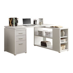 Monarch Specialties - Monarch Specialties 60 x 48 Hollow-Core Left or Right Facing Corner Desk - Get everything in one with this white corner desk! This practical desk can be place on the left or right side, while still giving you the same amount of space. This multi-functional desk offers room for your computer or laptop, a lamp and even decorative items. Easily store your pens, highlighters, rulers in the side drawers and place your pictures, books, or storage boxes in the Hollow-Core shelf space. This is a great back-to school gift for your studious children and even any adult. They wont want to leave their desk! What's included: Corner Desk (1).