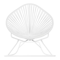 Acapulco Rocker, White Frame With White Weave - Sit back and relax in this classic woven rocking chair. The iconic pear-shaped seat is perfect for enjoying the backyard, but looks equally stylish inside the home. Order from a rainbow of colors for a pop of personality or stay cool with classic black and you can't go wrong.