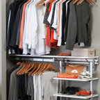 Arrange A Space - Closet System with Adjustable Shelves in Whit - Choose Size: 48 in. W x 11.75 in. D x 84 in. H (77 lbs.)Includes hardware. Anodized aluminum rail. Rail mounts easily onto the wall. Easy to installs into wood studs. 0.75 in. shelf thickness with industrial grade particle board. Commercial grade steel tubing hang rod in polished chrome. Made from fine wood grain melamine and metal. Height adjusts from 80 in. to 84 in.Arrange a Space's patented closet systems provide you with a unique and innovative solution for all of your space and storage needs. Created as a more flexible and versatile option for closets and storage areas than the common white wire or wood shelf, rod systems of the past.