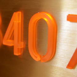 Hotel & Apartment Room Number Sign System - The Black LED Doorbell and LED house number is finished in plated black stainless steel, it is part of a modern system for illuminated LED signs.