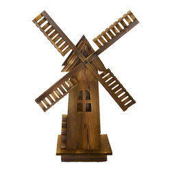 Pier Surplus - Classic Old-fashioned Wooden Dutch Windmill #PL50015 - This design of this delightful wooden windmill is based on classic Dutch windmills that you read about as a child. Its spinning blades and body  has been finished in brown and hand-burnished to give it a weathered, rustic look. Paint it a different color, even! This charming windmill adds a quiet charm to your yard. It makes a wonderful gift for someone who has a lovely front yard garden display.