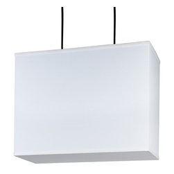 Lights Up! - Rex Large Rectangular Pendant Lamp, White Linen Shade - If it's hip to be square, this large rectangular pendant is the hippest! Two lightbulbs give you plenty of light and the closed bottom keeps things subtle. Shine some light over your wall art in the foyer or bedside in your modern bedroom. Either way, the crisp lines and neutral linen shades will work in almost any setting.