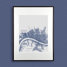 Vintage map of London printed illustration Navy by Printerella