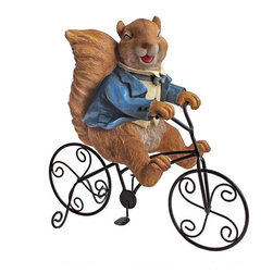 EttansPalace - Squirrel Home Garden Statue Sculpture Accent - Whether delivering the first news of spring or just verifying that you're nuts for furry friends, this playful animal statue wheels his way into your garden on an old-fashioned black metal bicycle! Sculpted with bushy tail and eager expression, our animal sculpture is cast in quality designer resin and hand-painted in a blue tuxedo jacket. A great gift and garden accent!