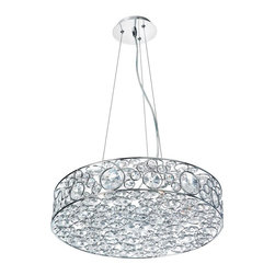 Dainolite - Crystal ChandelierLynda Collection - 6 Light Crystal Chandelier, Polished Chrome