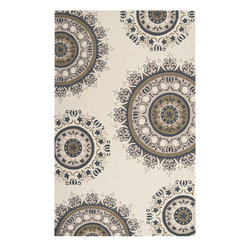 "Surya - Contemporary Flor 2'x2'9"" Rectangle Antique White-Sand Dollar Area Rug - The Flor area rug Collection offers an affordable assortment of Contemporary stylings. Flor features a blend of natural Antique White-Sand Dollar color. Hand Hooked of 100% Wool the Flor Collection is an intriguing compliment to any decor."