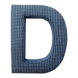 Fabric Wall Letters - Blue Gingham - All Uppercase Letters Available, Letter D - Choose our Blue Gingham fabric letters to create your own unique wall art or personalise your little child's bedroom or baby nursery.