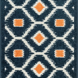 "Loloi Rugs - Loloi Rugs Terrace Collection - Navy / Orange, 1'-8"" x 2'-6"" - Bold design and bright colors come together beautifully in the outdoor-friendly Terrace Collection. Each Terrace rug is power loomed in Egypt of 100% polypropylene that's specially treated to withstand rain and UV damage without staining or fading color.�"