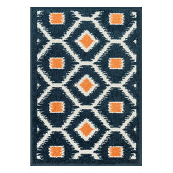 """Loloi Rugs - Loloi Rugs Terrace Collection - Navy / Orange, 2'-5"""" x 3'-9"""" - Bold design and bright colors come together beautifully in the outdoor-friendly Terrace Collection. Each Terrace rug is power loomed in Egypt of 100% polypropylene that's specially treated to withstand rain and UV damage without staining or fading color.�"""