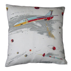 "Mid Century Home USA - Atomic Space Age Pillow Cover ""Fly Me To The Moon II"", Red Back - This pillow cover (Fly Me To The Moon II) is soooo 1950's, when people dreamed of flying to the moon.  The design is epic and very rare.  The fabric is  nicely textured, medium weight 1950's barkcloth.. Light blue, red, gray and light gold sit on an off white background.  The back is a coordinating red duck cloth canvas.  Light blue duck cloth canvas is also available if you prefer.  Please note: we have a coordinating pillow cover listed as well.  The seams are professionally serged to prevent fraying. The pillow insert is NOT included. The pillow is 17"" X 17"", use an 18"" pillow insert to ensure a very plump pillow."