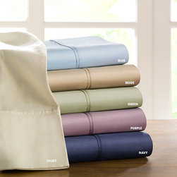 Premier Comfort - Premier Comfort 300TC Everyday Sheet Set - For everyday comfort, this 300 thread count cotton sateen sheet set allows you to rest in a variety of color options. These solid color sheets are constructed of 100-percent cotton fabric with a sateen weave. Fitted sheet features 15-inch pockets to fit larger mattresses. Available in ivory, beige, blue, green, purple and navy colors. Includes 1 flat sheet, 1 fitted sheet and 2 pillowcases. 300TC 100% COTTON, 60x60, 185x58/2