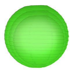 "LumaBase Luminarias - Paper Lanterns- Multi Size (2 each 12"", 14"", 16"") 6 Count Green - Round paper lanterns are an economical way to add color and dimension to your event. The 3 sizes (12"", 14"", 16"") will create a beautiful ambiance day or night. Use them on tree branches, under a party tent, above a dinner table or under a patio umbrella. They'll add a touch of flair and a festive feel any way you use them."