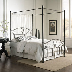 """Grandin Road - Sylvania Canopy Bed - Metal bed with high-rise corner posts and connecting canopy rails. Headboard and footboard feature vertical spindles and pretty curved elements. French roast finish harmonizes with any bedding. Excludes bed frame. Minor assembly. Dial up the """"wow factor"""" with our dramatic Sylvania Canopy Bed. Substantial corner posts rise toward the ceiling, where they are united by cross-rails from which you may drape curtain panels. Headboard and footboard have feminine scrollwork that softens the look of the vertical lines.  .  .  .  .  ."""