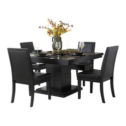 Homelegance - Homelegance Cicero Square Pedestal Dining Table in Black - In today s modern home, one looks to enhance each living space with clean lines and unique design. The Cicero collection adds those elements to your casual dining space. The square table top is quartered by parquet veneers and supported by a substantial, break-routed, block pedestal base. The wood chair frames black, baseball-stitched, bi-cast vinyl. The collection is offered in a black finish.