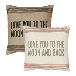 Vintage Sack Pillow - To the Moon - Pillow Talk - What a perfect way to express yourself! This soft spoken pillow is designed to have the look and feel of laundered, vintage flour sacks.. The printing is and ink dye that is absorbed into the fabric leaving an extremely soft and delicate feel. The Message: Love You To The Moon