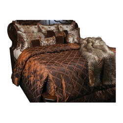 Highborn Coverlet Set, King - Copper tone on tone silk like fabric with a diamond ribbon pattern. Enhanced with accents of Blue Gray and Brown Velvet, garnished with rope and ribbon beading.