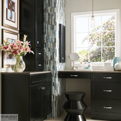 KraftMaid Cabinetry Onyx Vanity - A built-in vanity carves out a quiet and relaxing corner for primping in this elegantly simple powder room.