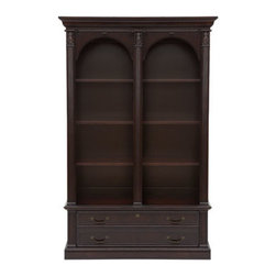 Horchow - Ridgecrest Double Bookcase - Give your workspace an executive touch with this exquisitely styled office furniture. Made of cherry and poplar with a garnet cherry finish. All drawers have dovetail construction and full extension metal side glides. Five-drawer executive desk has d...