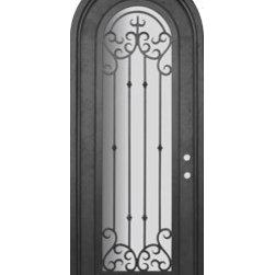 """Valencia 36x96 Round Top Forged Iron Single Door 14 Gauge Steel - """"SKU#PHBFVRTSIR4BrandGlassCraftDoor TypeExteriorManufacturer CollectionBuffalo Forge Steel DoorsDoor ModelValenciaDoor MaterialSteelWoodgrainVeneerPrice4600Door Size Options  $Core Typeone-piece roll-formed 14 gauge steel doors are foam filled  Door StyleRound TopDoor Lite StyleRadius Lite , Full LiteDoor Panel StyleHome Style MatchingMediterranean , Victorian , Bay and Gable , Plantation , Cape Cod , Gulf Coast , ColonialDoor ConstructionPrehanging OptionsPrehungPrehung ConfigurationSingle DoorDoor Thickness (Inches)1.5Glass Thickness (Inches)Glass TypeDouble GlazedGlass CamingGlass FeaturesInsulated , TemperedGlass StyleGlass TextureClear , Glue Chip , RainGlass ObscurityDoor FeaturesDoor ApprovalsWind-load RatedDoor FinishesThree coat painting process"""