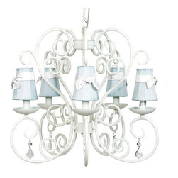 White Carriage Chandelier with Blue Shades and White Sashes - Sweet and simple.  This classic white carriage chandelier with plain blue shades tied with white sashes is perfect for baby's room!