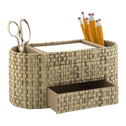 Kathy Ireland Office by Bush Furniture - Kathy Ireland by Bush Desktop Organizer in Grass Weave-Natural - Kathy Ireland Office by Bush Furniture - Desktop Organizers  - KIACC30403 - Kathy Ireland Office by Bush Furniture Desktop Organizer in Grass Weave-Natural.