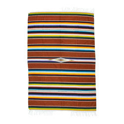 Vintage Mahogany Serape - Traditionally worn as a blanket-like shawl, the serape is a multifunctional textile. It can work as a rug, as a throw on cold nights, as a bleach blanket in the summer, or a seat cover in your 1940 Ford.