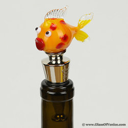 Murano Tableware & Barware - The whimsical richly colored Venetian fish swimming on top of this bottle stopper will instantly capture your heart. Handcrafted in the ancient traditions and techniques of Murano glass-making, this exquisitely detailed mouth-blown Murano glass bottle stopper offers a great way to add color and fun to every gathering. Bring a part of Venetian artistic tradition along with the colorful aura of Venice into your home and use this gorgeous Murano Glass wine stopper every time you uncork a new bottle or give it as a special Venetian gift to your wine-loving friends or relatives for beautiful memories that you can cherish together.
