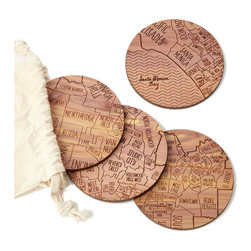 Rustic Cedar Wood Handmade Coasters - Set Of 4, Los Angeles - From the spot you met your sweetie to the locale of your favorite watering hole, this unique set of coasters celebrates the neighborhoods that make your city yours. Using her passion for typography and antique maps, graphic designer Aymie Spitzer maps out four sections of a city onto each coaster. She finishes one coaster with the city's name and established date, creating a a rustic metropolis in cedar wood. This charming set is a toast-worthy way to celebrate hometowns, new stomping grounds or favorite corners of the country.