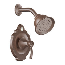 """Moen - Moen T2502ORB Oil Rubbed Bronze Posi-Temp Shower Valve Trim 1-Function Cartridge - Moen T2502ORB is part of the VESTIGE bath collection. Moen T2502ORB is a new bathroom decor style by Moen. Moen T2502ORB has an Oil Rubbed Bronze finish. Moen T2502ORB Posi-Temp Shower valve only trim fits any MPact common valve system or MPact Posi-Temp 1/2"""" valve available separately. Moen T2502ORB is part of the Vestige bath collection with its richly detailed lines featuring nostalgic designs and accents that complement traditional decor for today's homes. Moen T2502ORB Shower valve trim includes single-function pressure balancing Cartridge. Back to back capability. Moen T2502ORB is a single handle shower valve trim only, the handle adjusts temperature. Moen T2502ORB valve only single handle trim provides for ease of operation. Moen T2502ORB Posi-Temp pressure balancing valve maintains water pressure and controls temperature. Moen T2502ORB includes Moenfl"""" xL single function showerhead 2.5 GPM max. Moen T2502ORB is ADA approved. Oil Rubbed Bronze is an exclusive finish from Moen and provides style and durability. Moen T2502ORB metal lever handle meets all requirements ofADA ICC/ANSI A117.1 and CSA to meet CSA B-125, ASME A112.18.1 M. Lifetime Limited Warranty."""