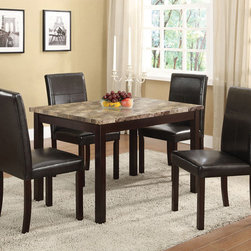 None - Faux Marble-top Espresso Dining Table - This elegant dining table features a glossy faux marble top supported by a sturdy wooden frame finished in rich espresso. The perfect complement to any contemporary dining room,this beautiful table is sure to impress.